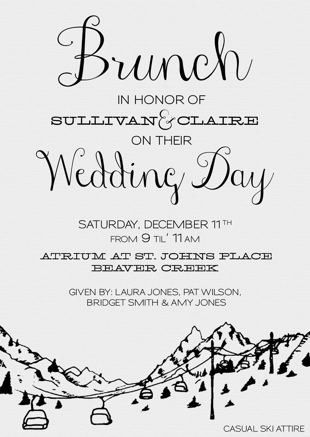 Wedding Day Brunch Invitation